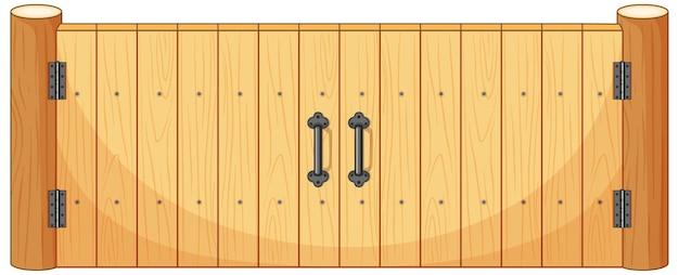 Деревянные заборные ворота в мультяшном стиле изолированы