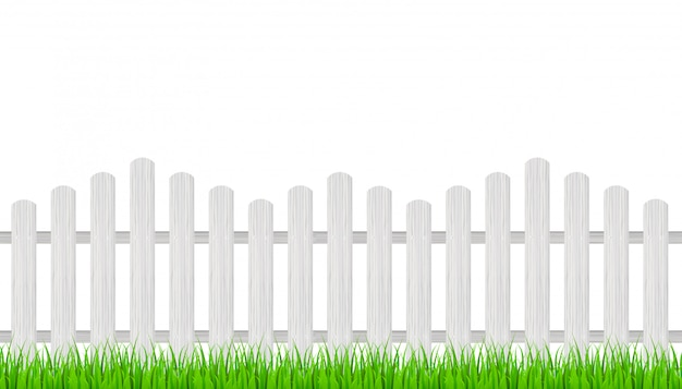 Wooden fence and grass.   illustration.