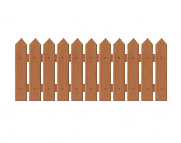 Wooden fence illustration isolated on white background.set fence made from  illustration