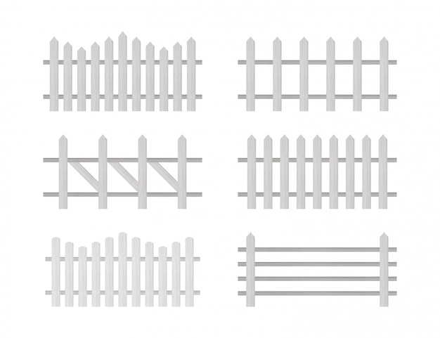 Wooden fence. rustic fence, pickets.   illustration.