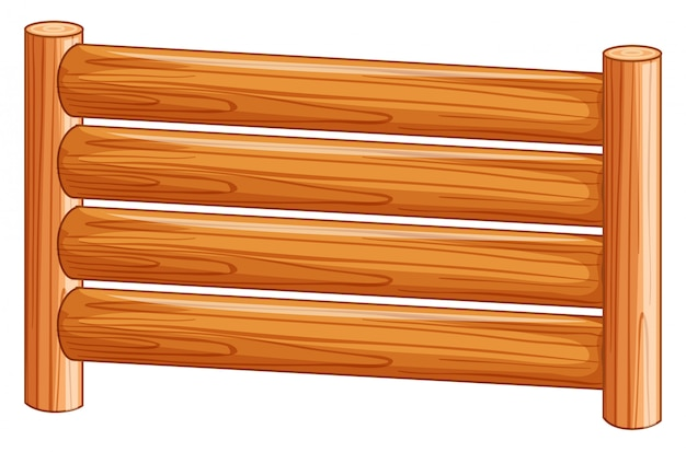 A wooden fence on white background
