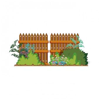 Wooden fence with garden flowers scene
