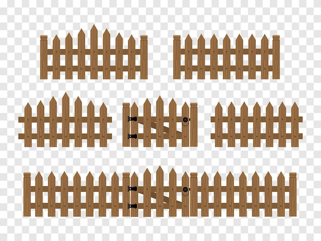 Wooden fences and gates isolated.
