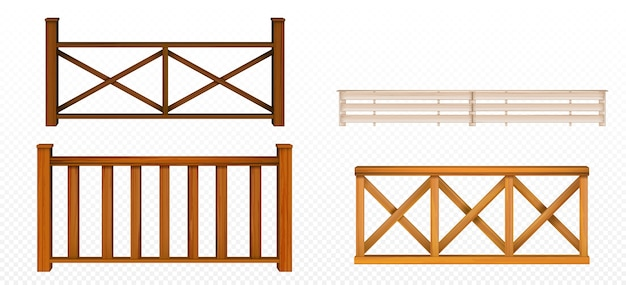 Wooden fences, handrail, balustrade sections with rhombus and grates patterns balcony panels, stairway or terrace fencing architecture isolated design elements, 3d vector realistic illustration set