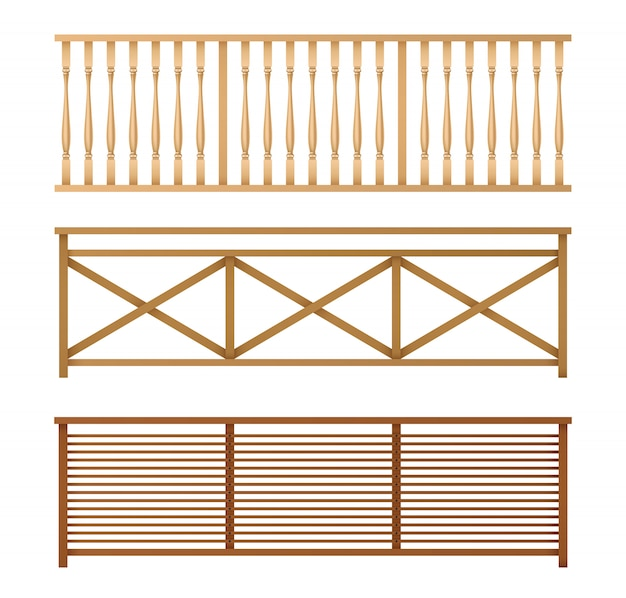 Wooden fences, handrails realistic vector set