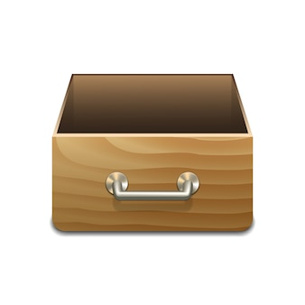 Wooden file cabinet for documents. vector illustration