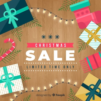 Wooden floor christmas sale background