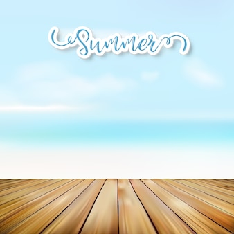 Wooden floor and sea background