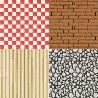 나무 바닥 질감, 돌 패턴 및 타일 배경 세트. 건축 자재, 원활한 배경 및 마루. 벡터 일러스트 레이 션