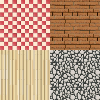 Wooden floor texture, stone pattern and tiles background set. construction material, seamless backdrop and parquet. vector illustration