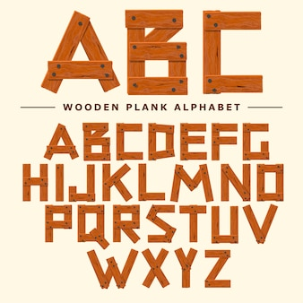 Wooden font, plank wood table alphabet. old boards with nails abc. cartoon style vector