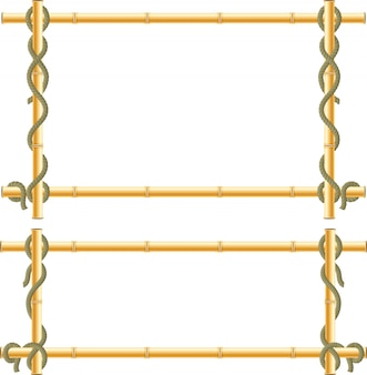 Wooden frame of bamboo sticks swathed in rope.