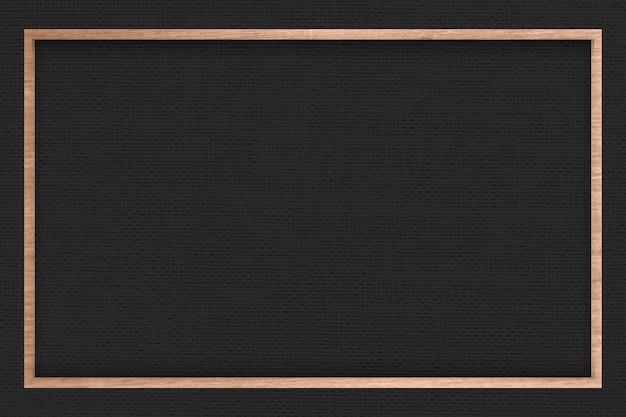 Wooden frame on black fabric textured background
