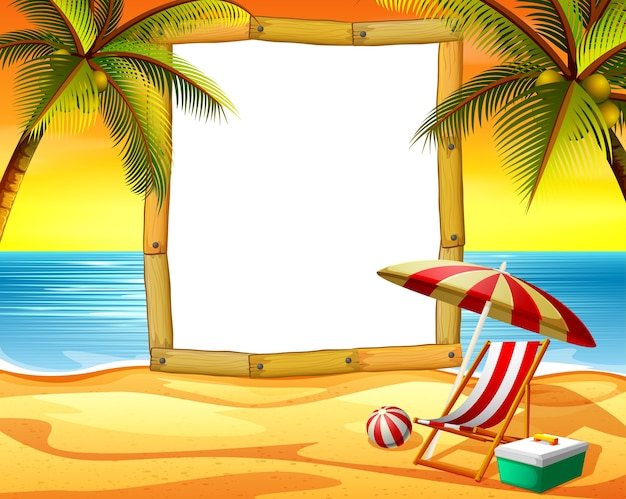 Wooden frame blank space with the sunset beach background and some coconut trees