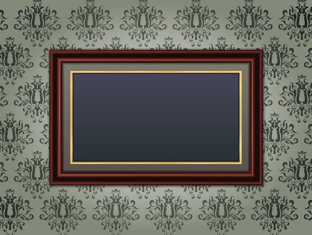 Wooden frame on floral vintage background