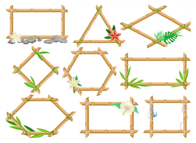 Wooden frame made of bamboo sticks set, frames of different shapes with flowers and leaves  illustrations