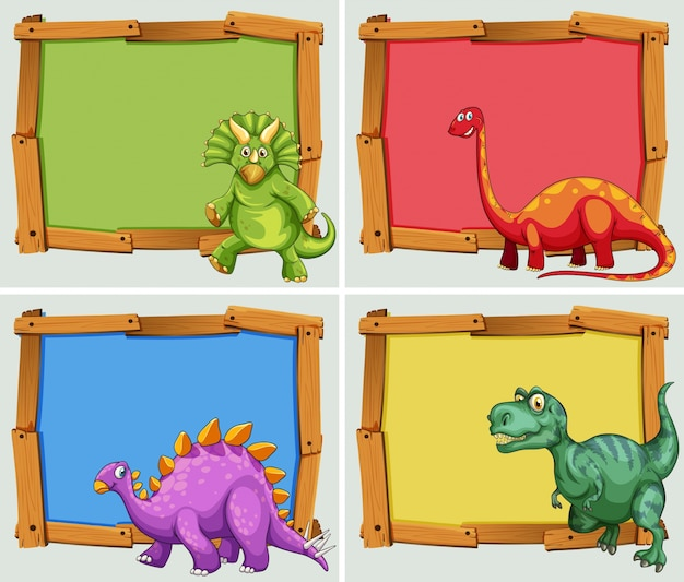 Wooden frame and many dinosaurs illustration