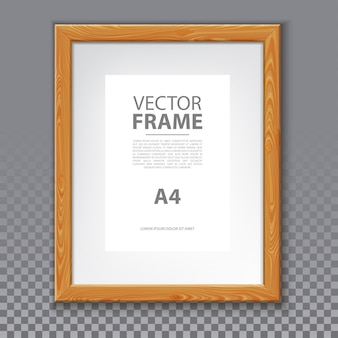 Wooden frame for photo or a4 message, picture on wall. realistic box for art or 3d simple border for text. blank advertise frame with shadow. box for info and photography, exhibition poster