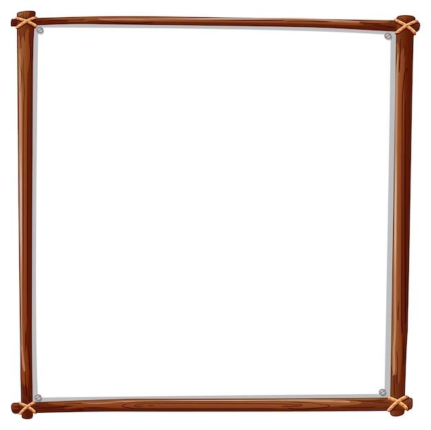 白で隔離される木製フレームの正方形