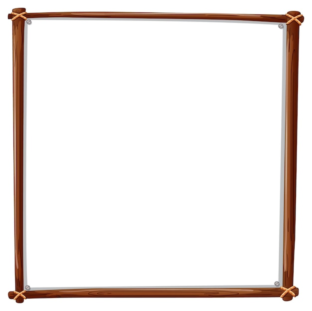 Wooden frame square isolated on white