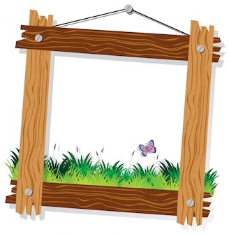 Wooden frame template with green grass and butterfly