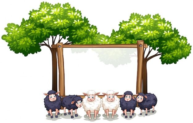 양 나무 프레임 템플릿