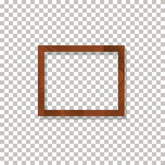 Wooden frame on the transparent background vector.