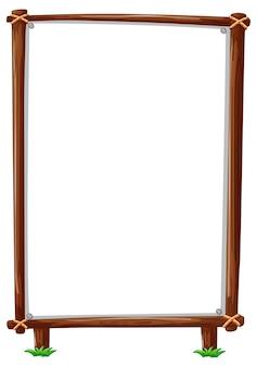 Cornice in legno verticale isolata su bianco