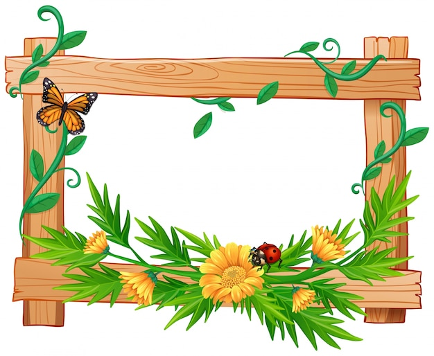 Wooden frame with flowers and insects