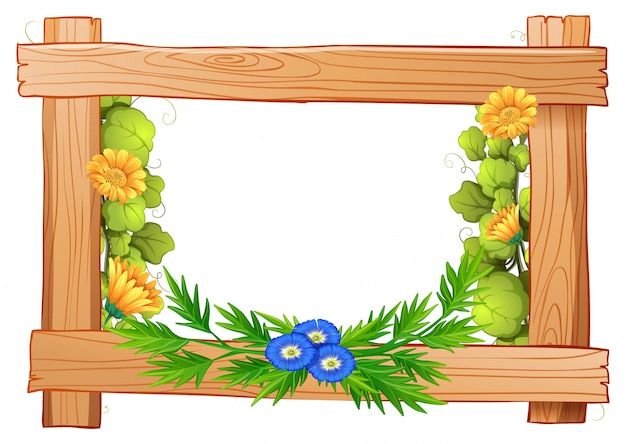 Wooden frame with flowers and leaves
