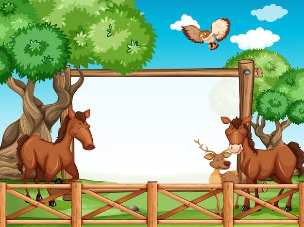 馬と鹿の木フレーム