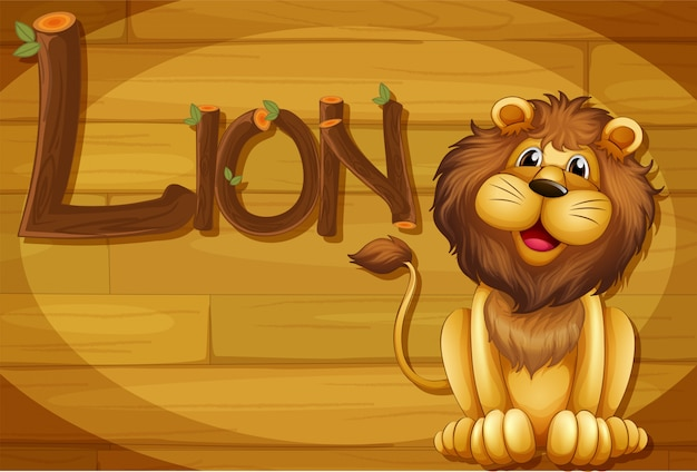 A wooden frame with a lion