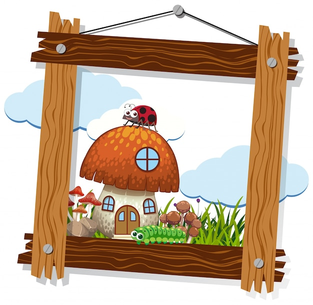 Wooden frame with mushroom house and insects