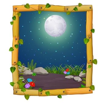 Wooden frame with nature scene and fullmoon