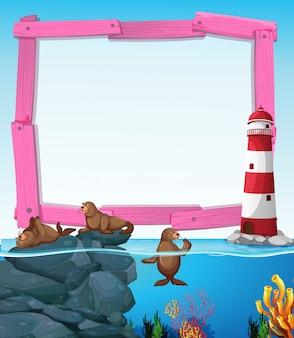 Wooden frame with seals underwater