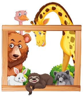 野生動物と木製フレーム