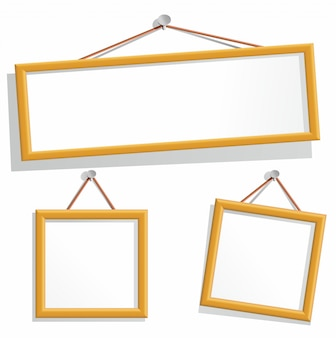 Wooden frames hanging on a nails.   elements  on white background.