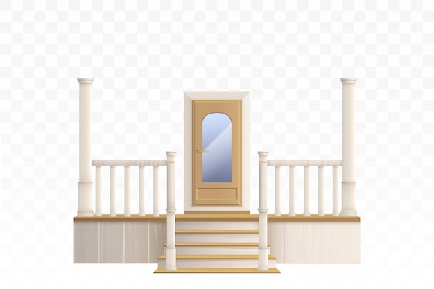 Деревянная входная дверь со стеклянным окном и лестницей на крыльце