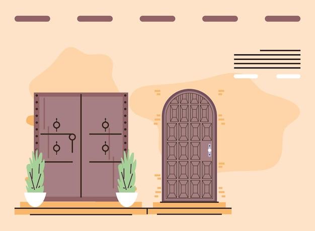 木製の正面玄関ドア Premiumベクター