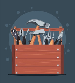 Wooden full toolbox in banner