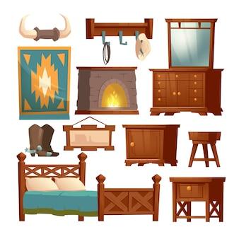 Mobilia di legno della camera da letto del cowboy in casa rurale