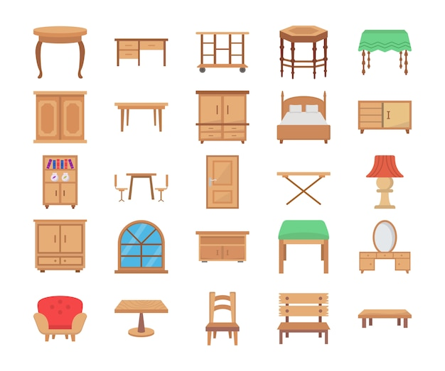 Wooden furniture flat vector icons