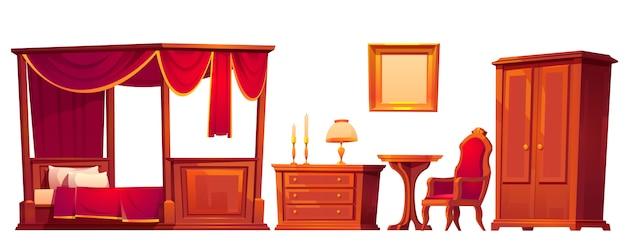 白で隔離される古い豪華なベッドルームの木製家具