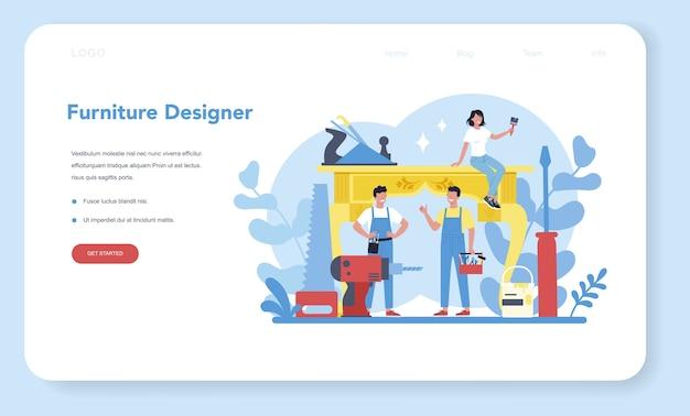 Wooden furniture maker or designer web banner or landing page