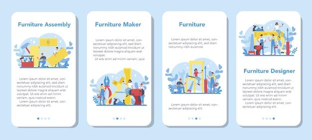 Wooden furniture maker or er mobile application banner set. wood furniture repair and assembly. home furniture construction.