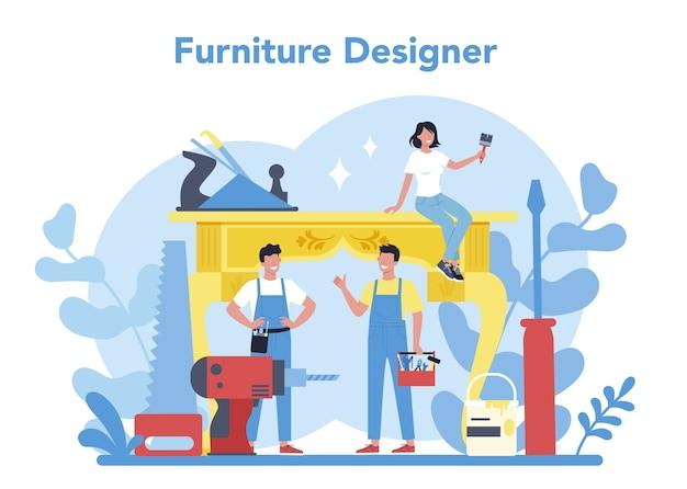 목재 가구 제작자 또는 디자이너 개념. 목재 가구 수리 및 조립. 가정용 가구 건설. 격리 된 평면 그림