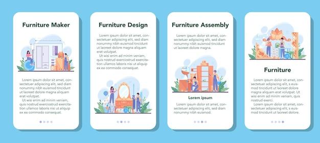 木製家具メーカーまたはデザイナーのモバイルアプリケーションバナーセット。木製家具の修理と組み立て。家の家具の建設。孤立したフラットイラスト