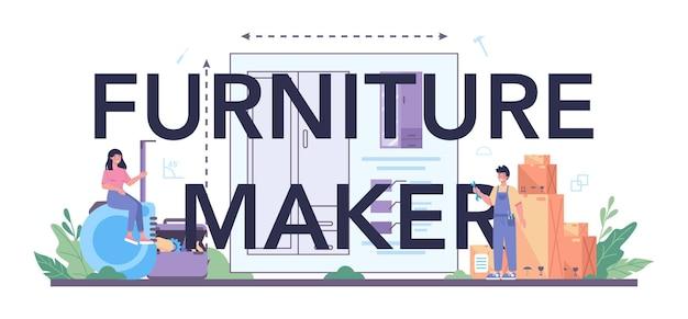 목재 가구 제조업체 또는 디자이너 인쇄 문구. 목재 가구 수리 및 조립. 가정용 가구 건설. 격리 된 평면 그림