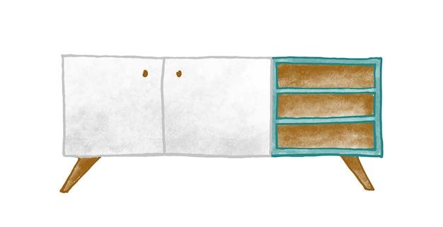 나무 가구 벡터 일러스트 레이 션. 다채로운 머리맡 테이블 흰색 배경에 고립입니다. 선반이 있는 세련된 스탠드. 레트로 화장실. 고전적인 디자인의 빈티지 홈 인테리어 요소입니다.