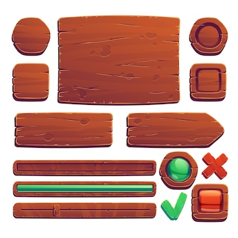 木製のゲームボタンとバナー